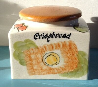 Vintage Toni Raymond Pottery Crispbread Storage Jar With Wooden Lid Retro