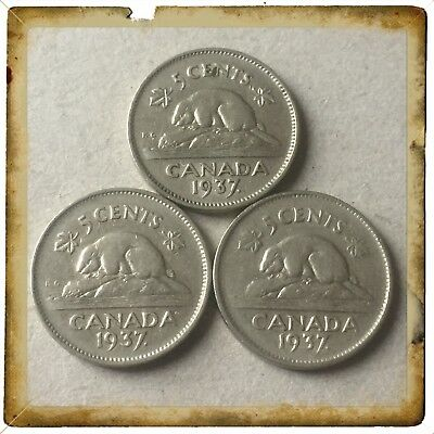 Lot Of 3 1937 Dot Canada five cents Canadian nickels Coins #1284