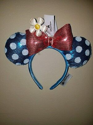 NEW Disney Parks Sequined Minnie Mouse Ear Headband - Blue w/Polka Dot and Daisy
