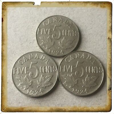 Scarce Lot Of 3 1924 Canada five cents Canadian nickels Coins #1301