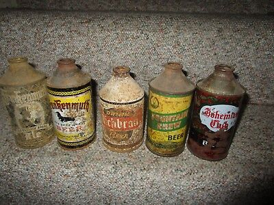 Lot Of 5 Early Cone Top Beer Cans Wisconsin Michigan Washington Low Grade