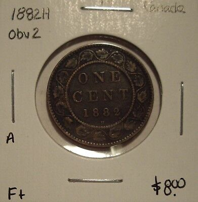 A Canada Victoria 1882H Obv 2 Large Cent - F+