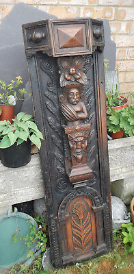 Antique 18Th~19Th Century Jacobean Large Heavy Carved Oak Fireplace Panel~Faces