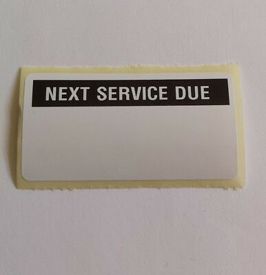 100 x Next Service Due Stickers Labels