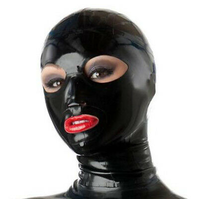 Latex Hood Open Eye and Mouth for Catsuit Handmade Rubber Mask Club Wear Costume