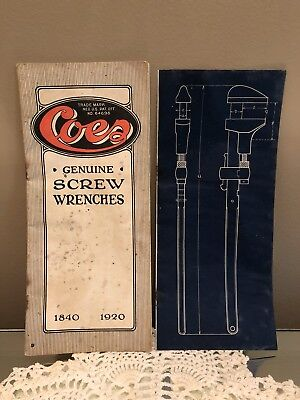 COES GENUINE SCREW WRENCHES 1840-1920 Advertising Booklet Pamphlets