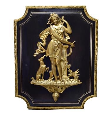 Exceptionnal French Victorian Diana the Huntress Bronze Ebony Wall Panel 19th.C