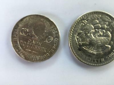 Lot of 2 Coins: One Silver Russian and One Silver Mexican Coin