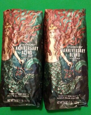 Starbucks Anniversary Blend Spicy Bold 2016 Whole Bean Coffee (2 bags of 1 lb)
