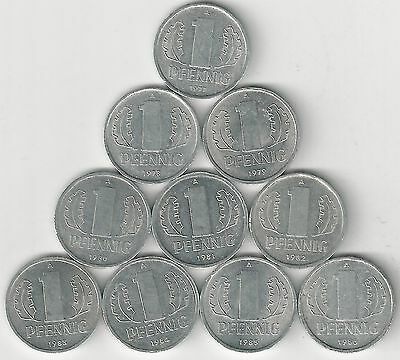 10 DIFFERENT 1 PFENNIG COINS from EAST GERMANY (CONSECUTIVE DATES of 1977-1986)