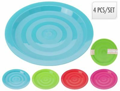 Set of 4, Multi Coloured Plastic Reusable 19cm Plates Kids Party BBQ Camping