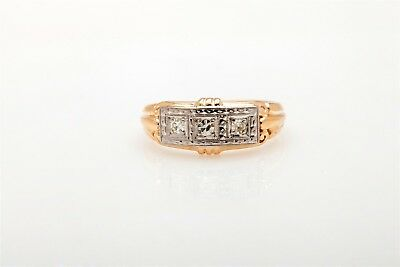 Antique 1930s ART DECO 3 Diamond .25ct 14k Yellow Gold Mens Ring Band