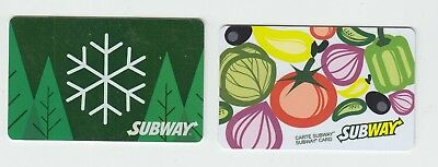 2 diff SUBWAY bilingual Canada gift cards NO VALUE collectors only #3