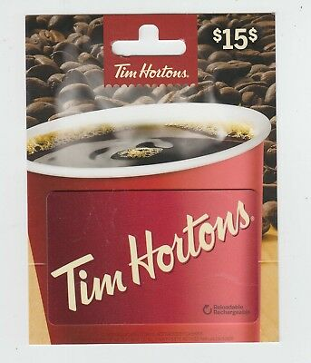 Tim Horton Canada $15 gift card on hanger NO VALUE collectors only