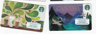 2 diff STARBUCKS gift cards Canada bilingual NO VALUE collectors only #7