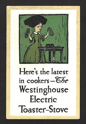 Westinghouse Electric Toaster & Stove vintage advertisement postcard