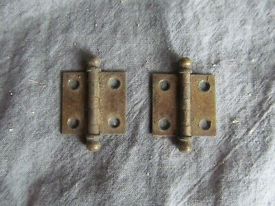 """2 Vintage Small Iron Hinges Brass Finish 1"""" x 1"""" Jewelry Box Cabinet"""