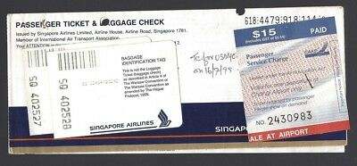 SIngapore Airlines ticket with $15 Airport Tax label '