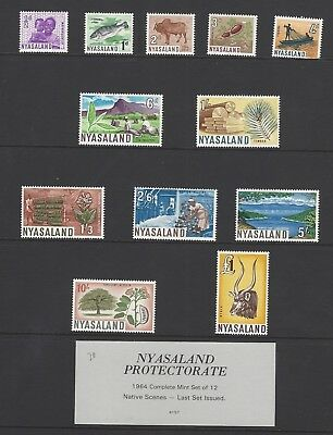 Nyasaland 1964 12v set to £1 MNH