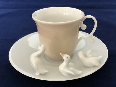 Lladro Duck Ducklings Cup & Saucer W/Box and Documentation #06045