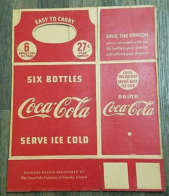 1930's Coca-Cola 6 Pack 27 Cent Bottle Cardboard Carrier Advertising Canada