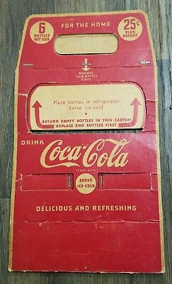 1939 Coca-Cola 6 Pack 25 Cent Bottle Cardboard Carrier Advertising