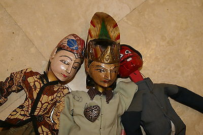 3 Authentic Old Hand made Java Theater Wayang Golek Wood Collector Puppet Dolls