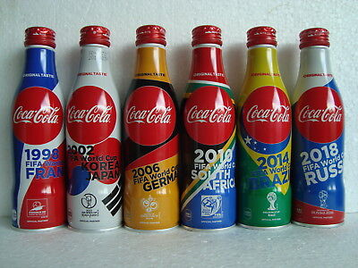 "Rare Coca Cola ""WORLD CUP SOCCER RUSSIA"" Aluminium Bottle Set JAPAN 2018 (dents)"