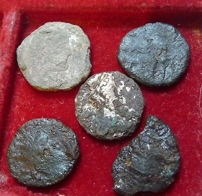 LOT OF 5 UNCLEANED ANCIENT ROMAN COINS + SILVER from the NETHERLANDS