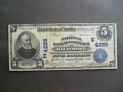 Series of 1902 $5.00 The National Bank of Commerce Baltimore MD in VF Condition
