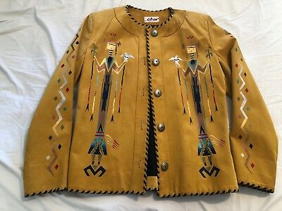 Vintage Char Corn Maiden Native American Southwestern Whipstitch Leather Jacket