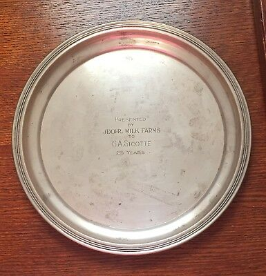 Adohr Milk Farms 25 Year Gorham Sterling Plate Presented to G.A. Sicotte
