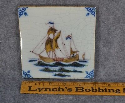antique delft tile polychrome sailing ship brown blue hand painted HA crown