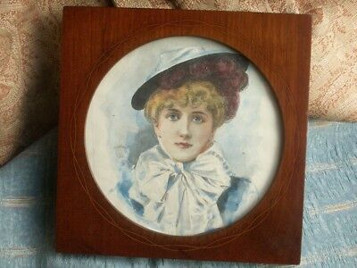 Old Vintage Antique Inlaid Mahogany Edwardian Photo Picture Frame 1905 Wooden