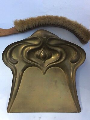Victorian Brass Crumb Tray And Brush