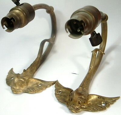 ANTIQUE PAIR GILT BRONZE & BRASS ROCOCO FLYING FISH WALL LIGHTS lamps c1890