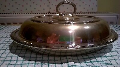 VICTORIAN SILVER PLATED OVAL FOOD SERVING DISH WITH LID M Hall & Co