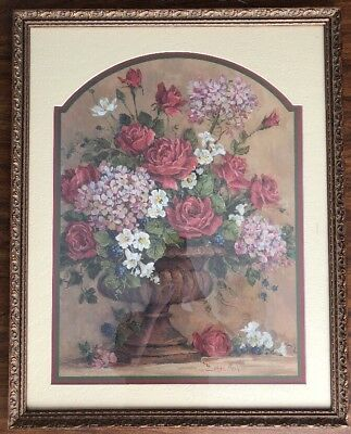 X-Large HOME INTERIOR Rose And Vase Flowers Floral Picture Print By Barbara Mock