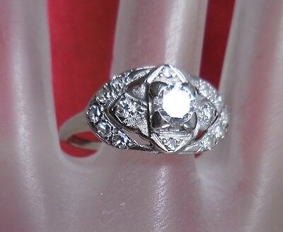 Art Deco 14K Solid White Gold Natural Diamond Ring Vintage Estate Jewelry