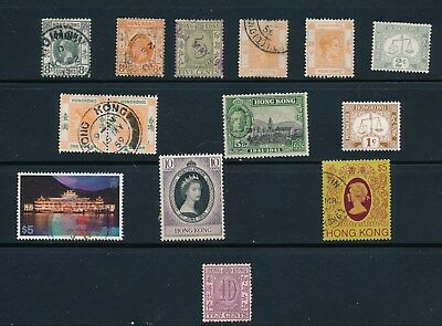 Hong Kong **14 ISSUES MH & USED (1912-85)**; SOME HIGHER VALS INCL: #418 & #167