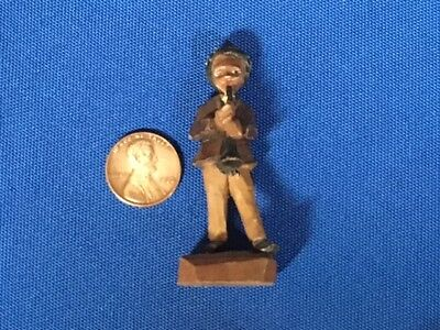 Antique Black Forest Carved Miniature Painted Figure Musician Germany Folk Art