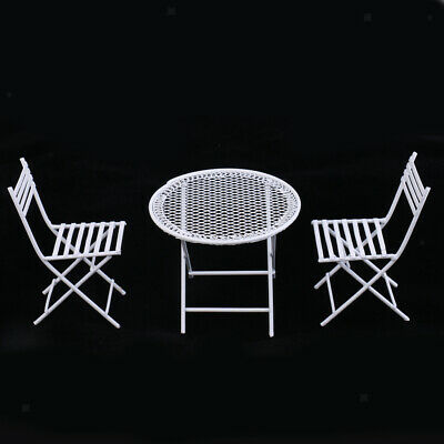 1:12 Scale Dollhouse Miniature Furniture White Round Table Chairs Model Set