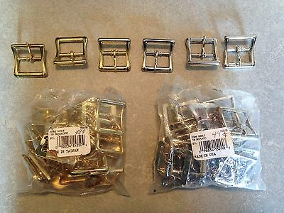 "Lot 53 Tandy Leather 1"" Strap Centerbar All Purpose Nickel & Brass Buckles (63a)"