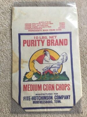 Vintage 10 Lb Bag Corn Chops Fite-Hutchinson Co Murfreesboro Tennessee Tenn TN