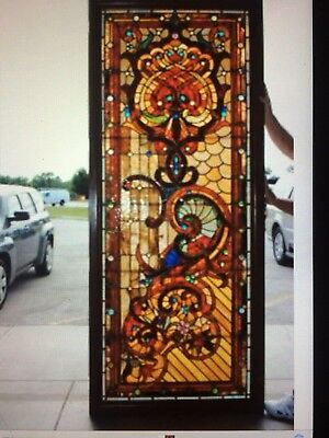 """Antique Jeweled Stained Glass Landing Window -- Leaded Glass -- 8' x 40"""" L@@K"""