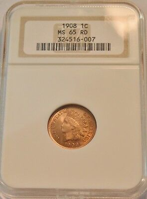 1908 1C NGC MS 65 RD Indian Head Cent, RED GEM Uncirculated Penny, Sharp Coin