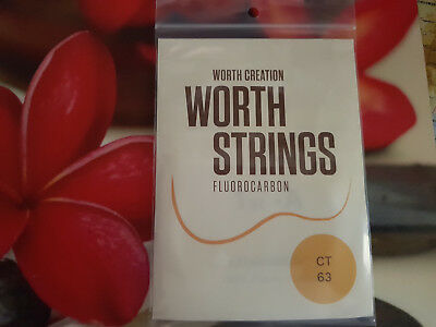 Worth Ukulele Strings Clear Fluorocarbon Tenor 63 inches long enough for 2 sets