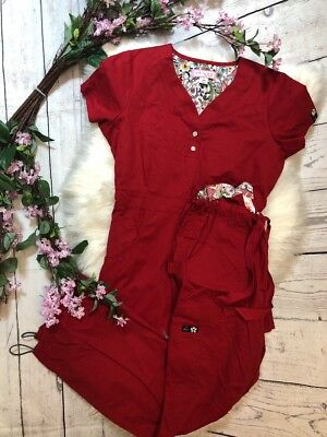 Koi By Kathy Peterson Scrubs Set Solid Red Size XS Top And Pants With Pockets