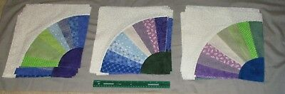 """Lot of 42 Dresden Plate Quilt Blocks 12""""x 12"""" Blue, Green and Purple Centers"""
