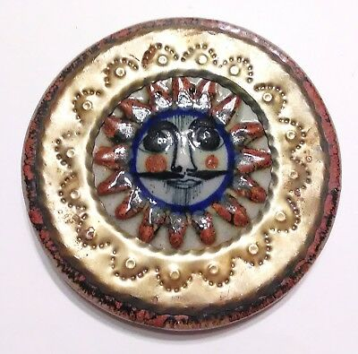 Signed Mexico Stoneware and Brass Smiling Sun Disc